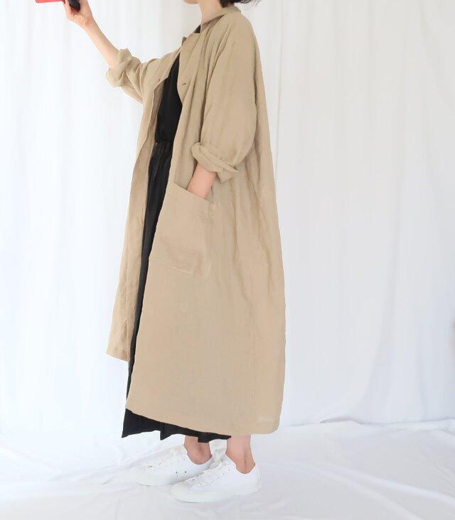 再販・秋の新作♡オーバーサイズ・薄手リネンコート・カーキ・こなれ感の画像1枚目
