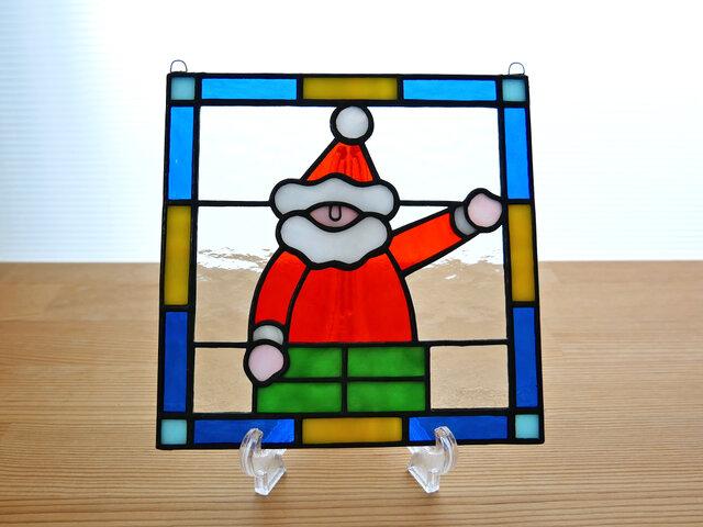 ステンドグラス ミニパネル サンタクロース 15cmの画像1枚目