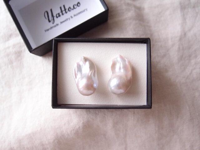 【再入荷】【silver】バロックパールイヤリング/fishtail ・baroque pearlの画像1枚目
