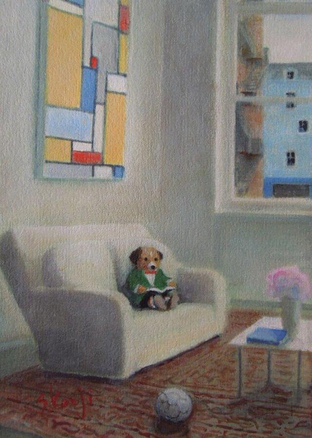 白いソファの子犬の画像1枚目