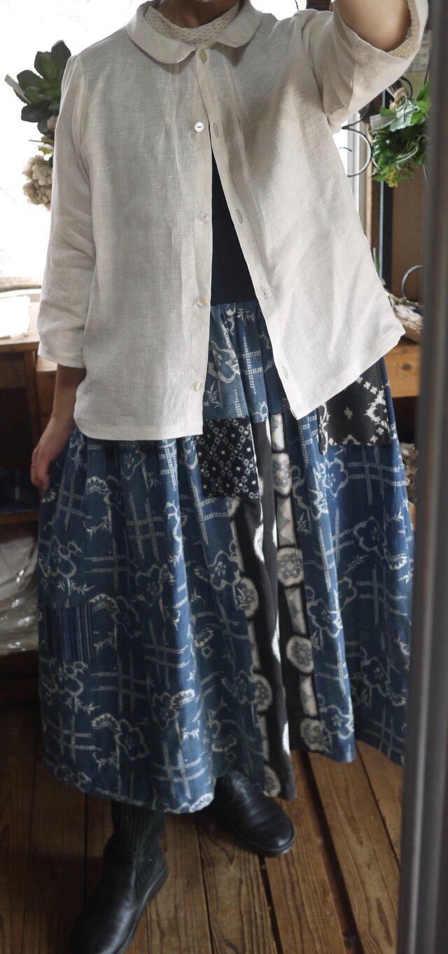 襟付きリネン羽織物の画像1枚目