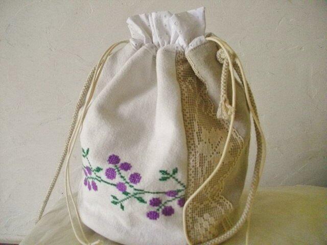 アンティーク*ハンガリー*手刺繍*リネン*巾着バッグの画像1枚目