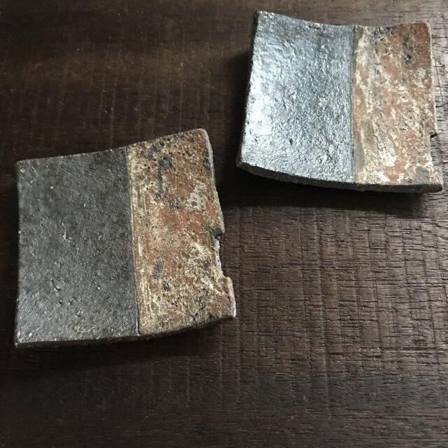 焼締豆皿&箸置き(凹みあり)の画像1枚目