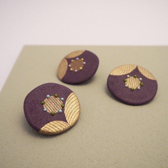 漆花ブローチ「華」古代紫 秋アクセサリー 冬アクセサリー 和風の画像1枚目