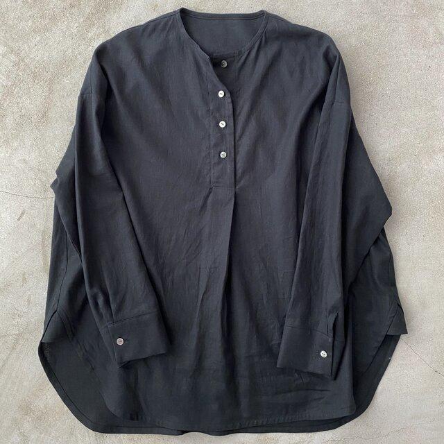コットンリネンのシャツ ブラック No.134の画像1枚目