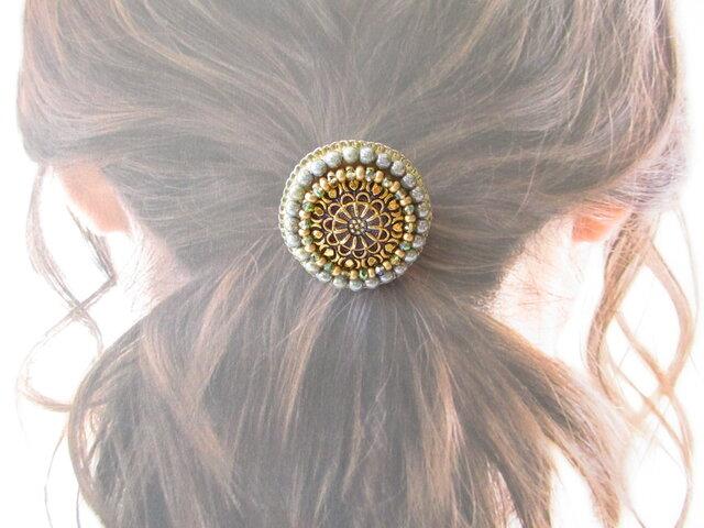 Hair accessory ヘアゴム チェコガラスボタン(K0943)の画像1枚目