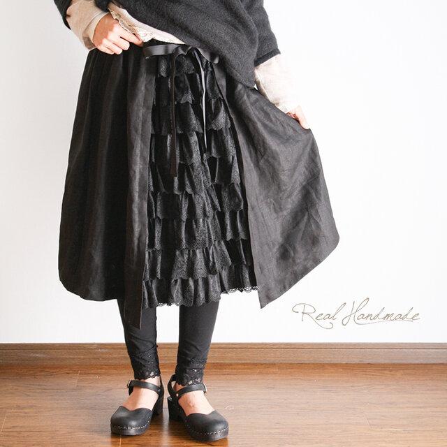 [予約販売] ブラックリネンチュールレース見せかけスカートの画像1枚目