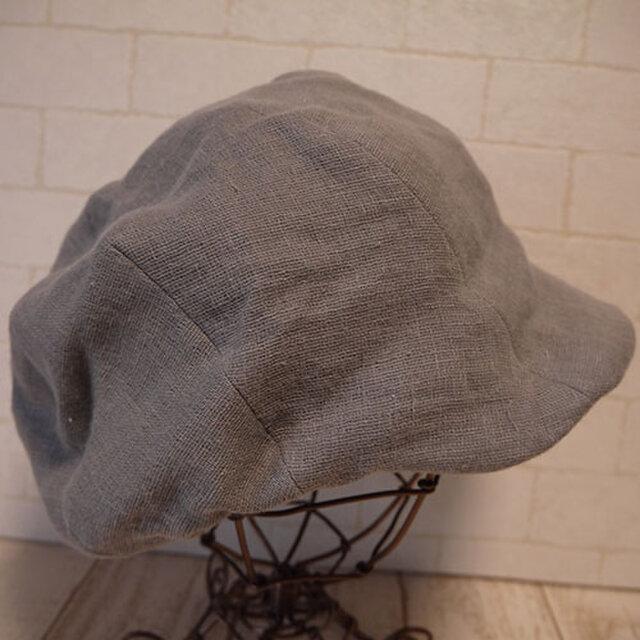 ダブルガーゼで作ったキャスケット(薄グレー)の画像1枚目