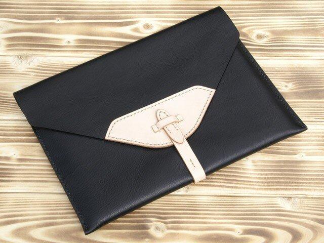 ハンドメイドiPad2・新しいiPad用レザーケース(黒・ヌメ)の画像1枚目