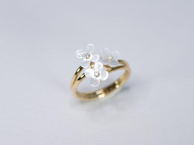 シェル x 天然ダイヤモンド x 18金YG 花のモチーフ2連リングの画像1枚目