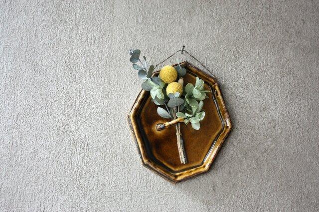 陶の壁掛け(8角小/茶)の画像1枚目