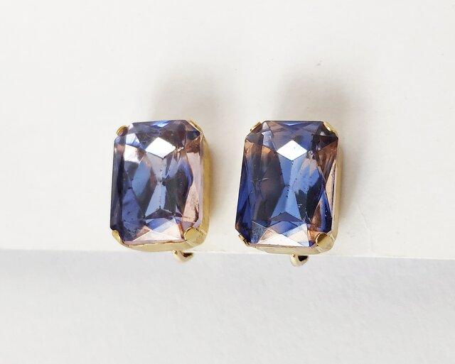【ビンテージ 西ドイツ製ガラス バイオレット・ローズ  イヤリング】紫 1950年代 の画像1枚目
