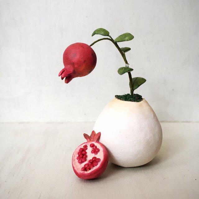 5016.bud 粘土の鉢植え ザクロの画像1枚目