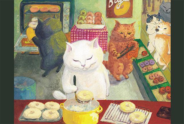 カマノレイコ オリジナル猫ポストカード「ベーグル屋さん」2枚セットの画像1枚目