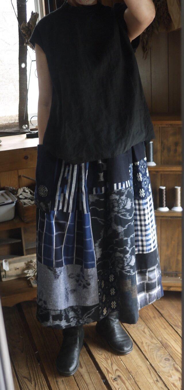 M様専用久留米絣反物からギャザースカートの画像1枚目