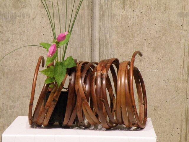 燻煙千島笹 鳳尾竹 オブジェ 置き花籠の画像1枚目