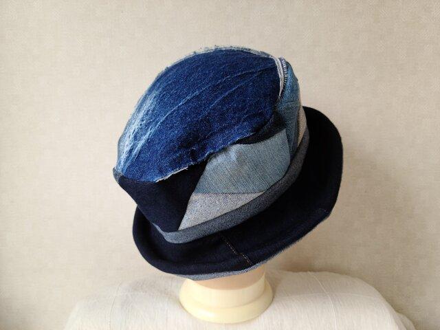魅せる帽子☆デニム大好き♪ジーンズのリメイクハットの画像1枚目
