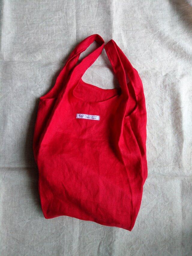 S様オーダー専用画面・布製レジ袋♡シンプル仕様♡赤リネン・54cm×23cmマチ13cm・エコバック・使い勝手◎の画像1枚目