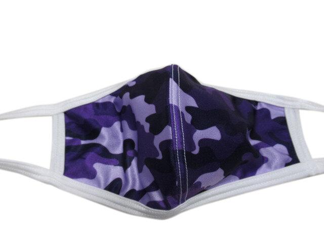 立体シーム・カーブ型プリント水着マスク・迷彩(パープル)の画像1枚目