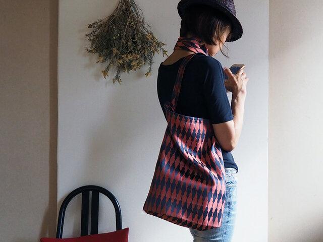 【選べる2サイズ】大きすぎないおしゃれなエコバッグ チャコール×レンガ色の着物コートからの画像1枚目
