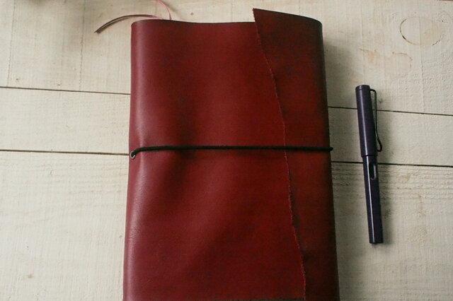 本革A5サイズ 赤いくるんと手帳カバー の画像1枚目