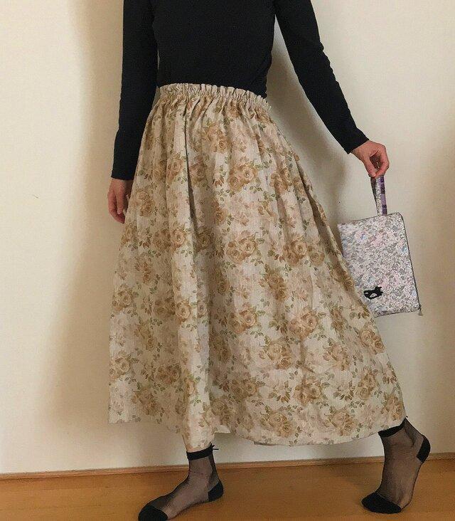 セミオーダー コットンリネン 薔薇模様 秋のゆったりふんわりスカートの画像1枚目