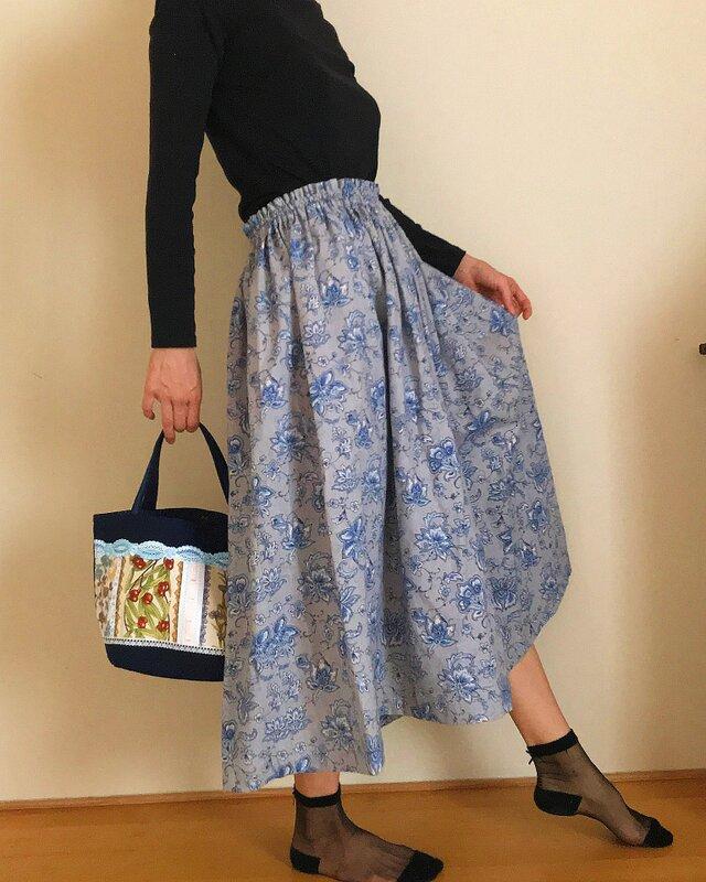 セミオーダー コットンリネン 更紗模様 秋のゆったりふんわりスカートの画像1枚目