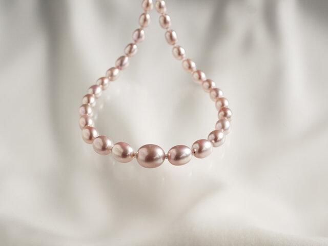 パールネックレス 色:ピンクの画像1枚目