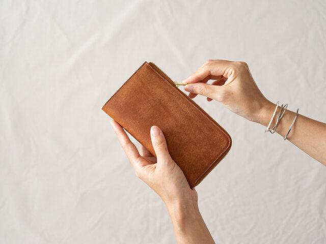 革の財布L Cognacの画像1枚目