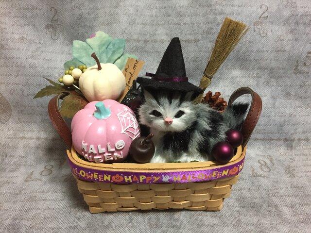 2020猫ちゃんのハロウィンかごアレンジ M パープル系の画像1枚目