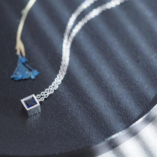 サファイア 四角 ネックレス シルバー925の画像1枚目