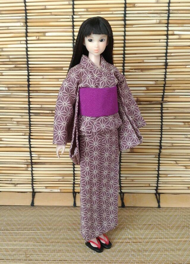「麻の葉彩る浴衣…藤紫」27cmドール着物の画像1枚目