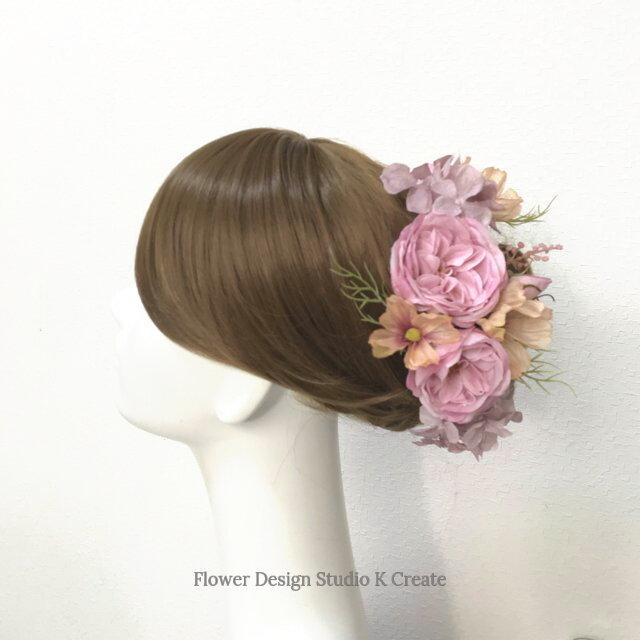 コスモスと薔薇のヘッドドレス 結婚式 ウェディング 薔薇 コスモス 紫陽花の画像1枚目