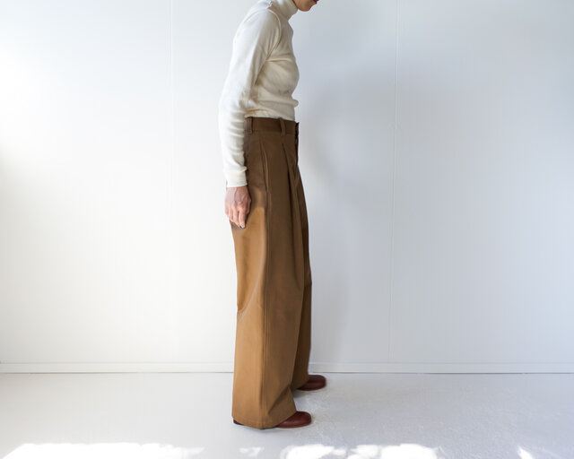 twill cotton /tack wide pants/brownの画像1枚目