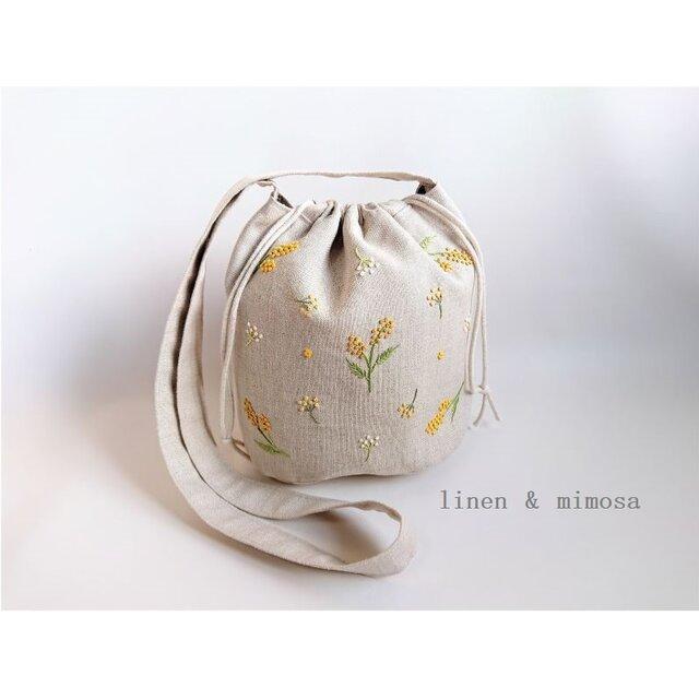 【受注制作】リネン刺繍の巾着斜め掛けショルダーバッグ(ミモザ・ボタニカル)の画像1枚目