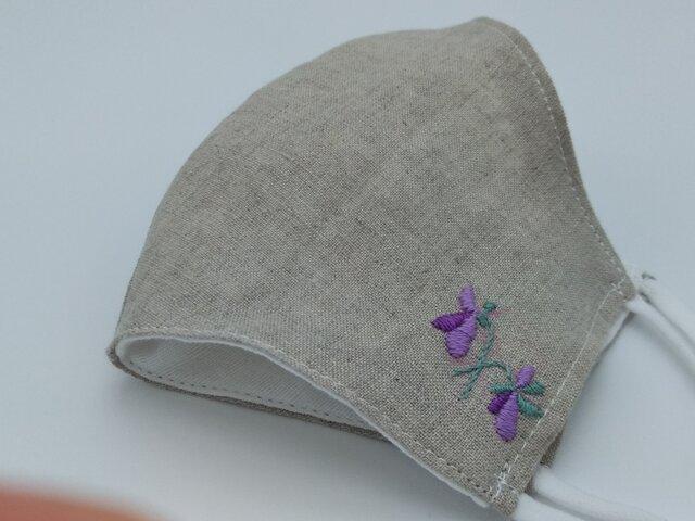 秋いろ刺繍❁Mベージュ麻100%立体マスク(調節ゴム・ポケット付き)の画像1枚目