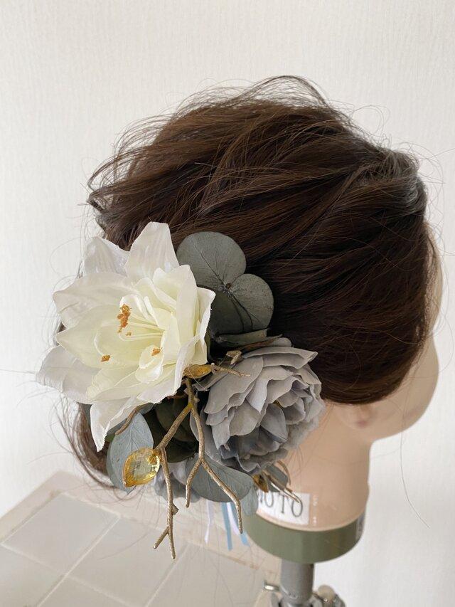 アンティークローズとジュエルの髪飾り【造花】ウェディング・成人式にの画像1枚目
