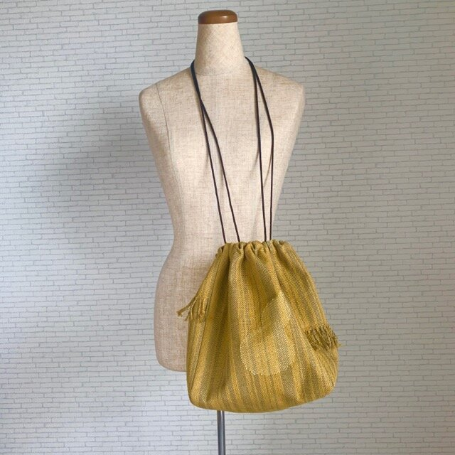 変わり縞のひょうたんバッグ 手織りの画像1枚目