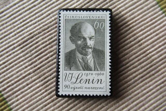 チェコスロバキア レーニン切手ブローチ6614の画像1枚目