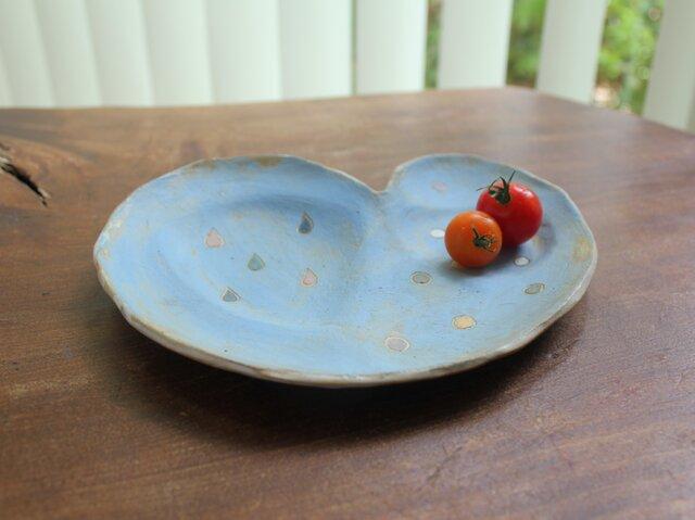 色化粧 ハートの取り皿 水色1の画像1枚目