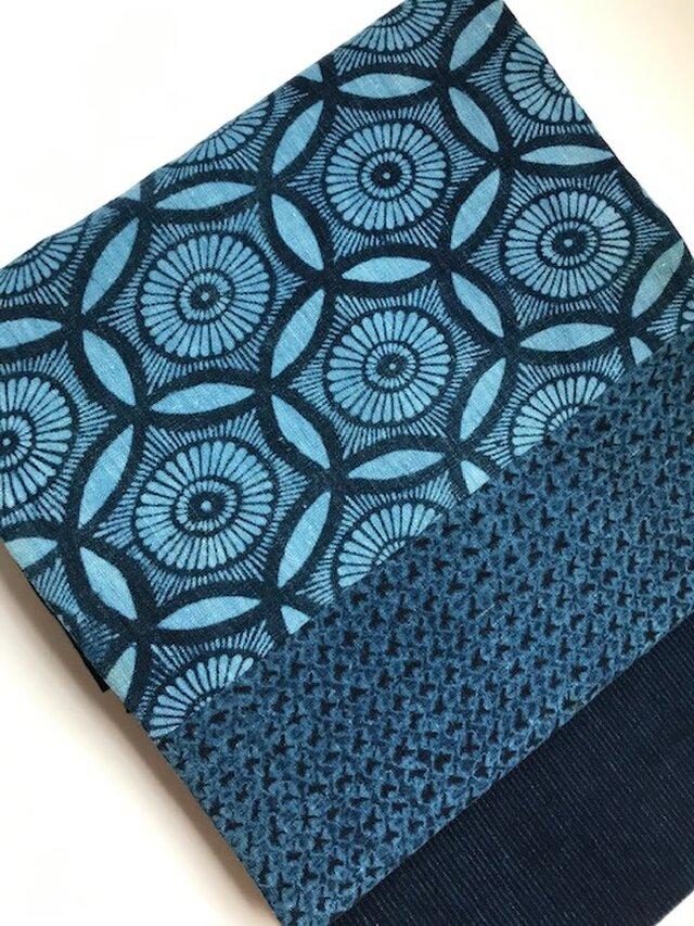 古布の藍返し型染めと鳴海紺型、めくら縞の剥ぎ名古屋帯 【送料無料】の画像1枚目