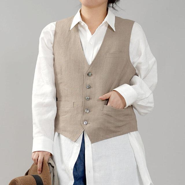 【wafu】リネンベスト 総裏地仕様 リネン100% スーツスタイルにも 男女兼用/胡桃色(くるみいろ) h012a-krm2の画像1枚目