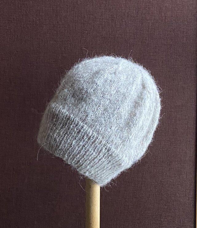 【受注作品】モヘア・ニット帽 ベージュの画像1枚目