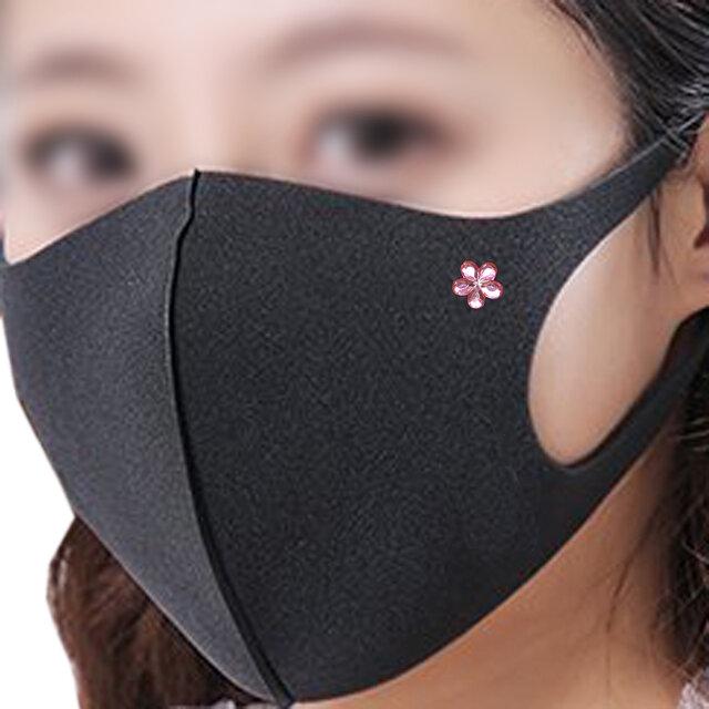 マスク ピアス 花 ピンク 金属アレルギー対応済みの画像1枚目