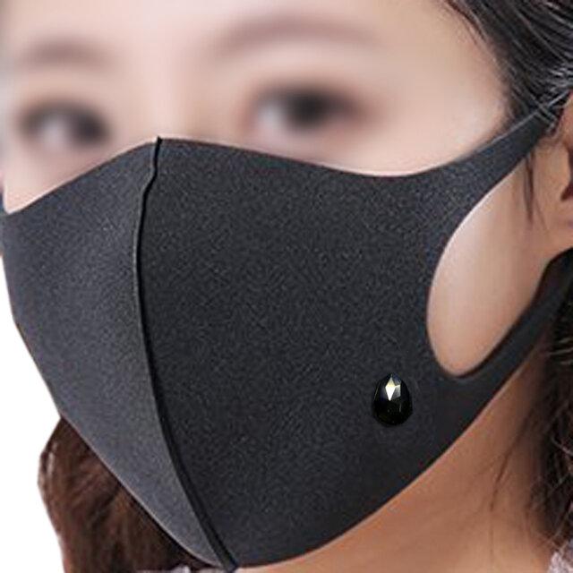 マスク ピアス 雫 ブラック 金属アレルギー対応済みの画像1枚目