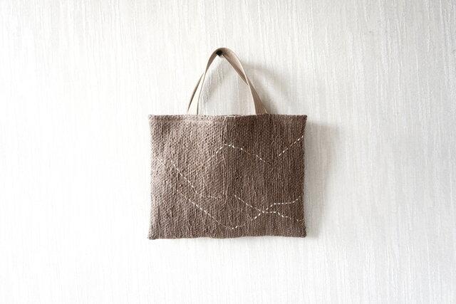 裂き織りのちょっとそこまでバッグ  モカブラウンにゆらゆらラインの画像1枚目