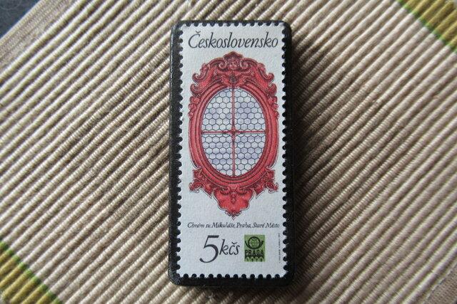 チェコスロバキア 窓切手ブローチ6621の画像1枚目