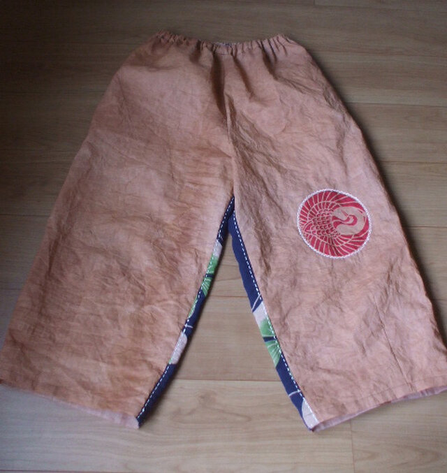 鶴マークワイドパンツ 木綿の画像1枚目