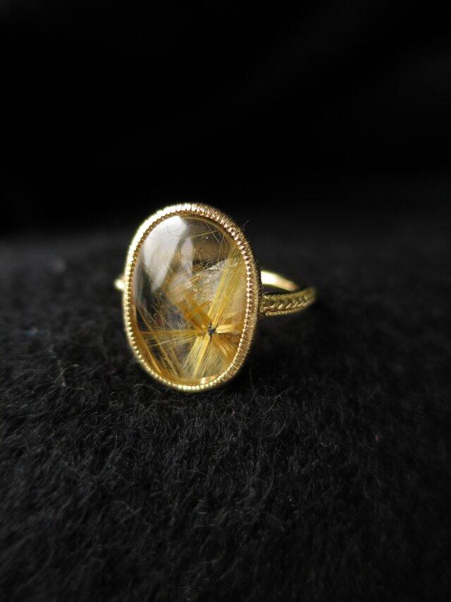 K18 Starburst  Rutilated quartz Ringの画像1枚目