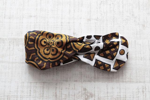 カンガのヘアターバン|幅広ボリューム / アフリカ布 / アフリカンプリントの画像1枚目